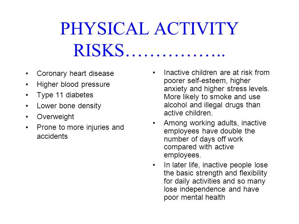 PHYSICAL ACTIVITY RISKS……………..