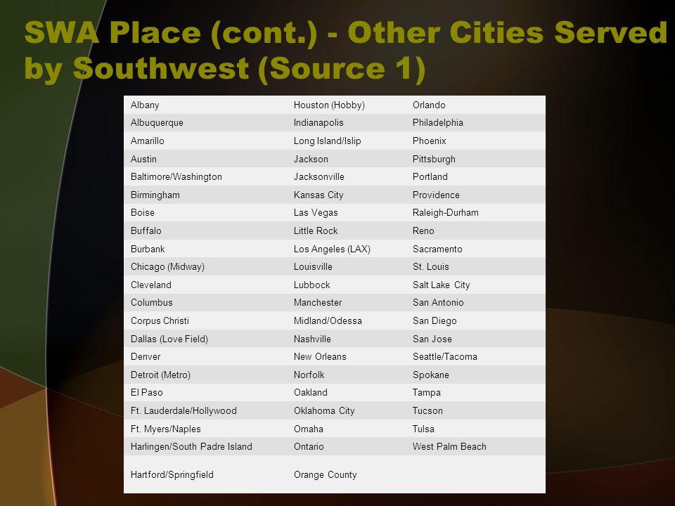 SWA Place (cont.) - Other Cities Served by Southwest (Source 1) AlbanyHouston (Hobby)Orlando AlbuquerqueIndianapolisPhiladelphia AmarilloLong Island/I