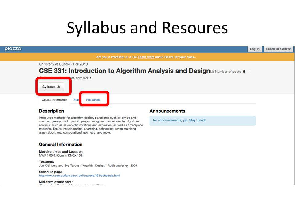 Syllabus and Resoures