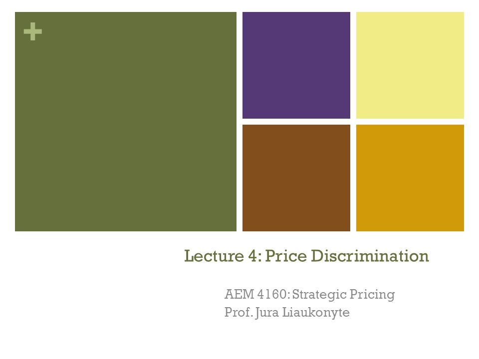 + Lecture 4: Price Discrimination AEM 4160: Strategic Pricing Prof. Jura Liaukonyte 1