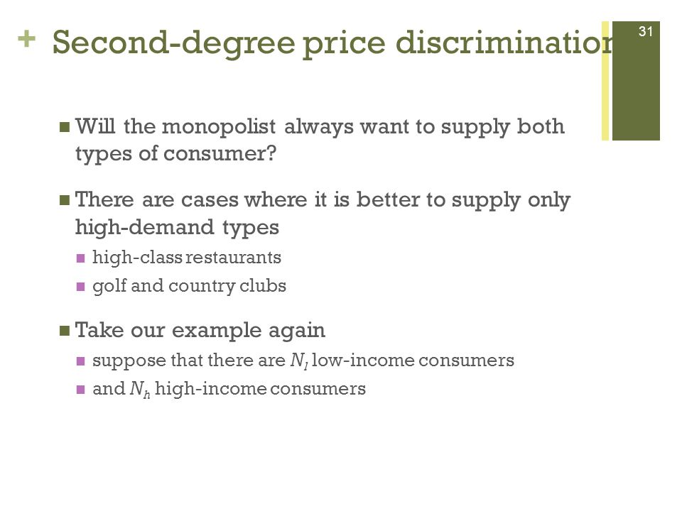 + Second-degree price discrimination 31 Will the monopolist always want to supply both types of consumer.