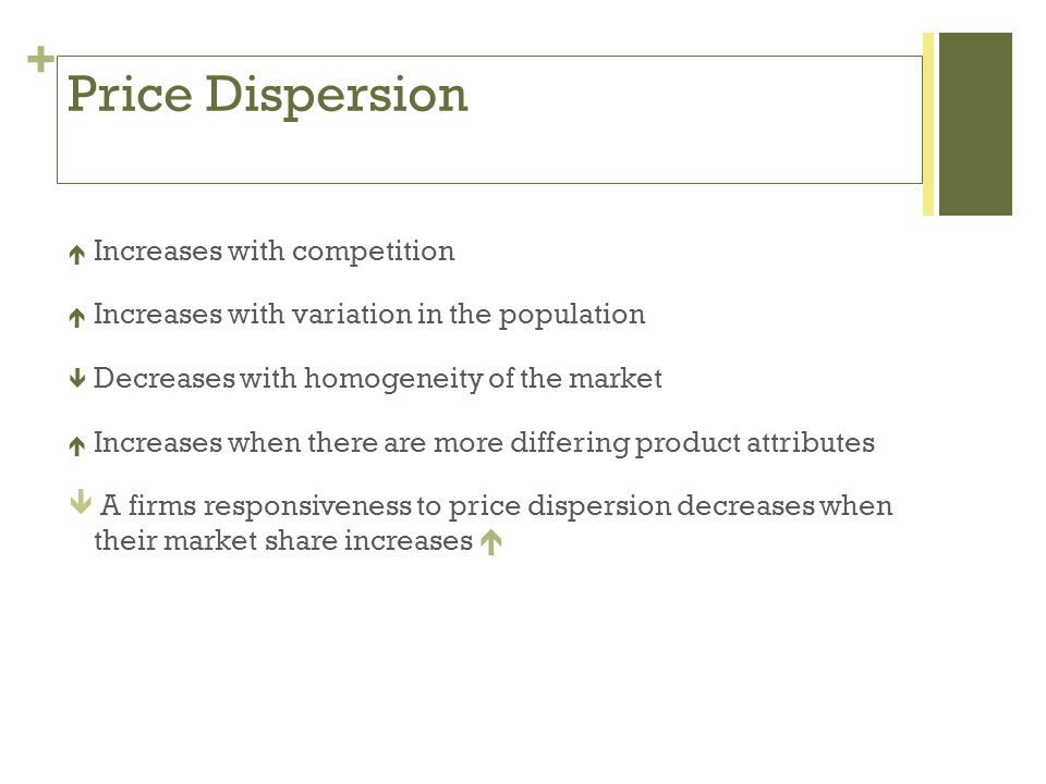 + Price Dispersion Increases with competition Increases with variation in the population Decreases with homogeneity of the market Increases when there are more differing product attributes A firms responsiveness to price dispersion decreases when their market share increases