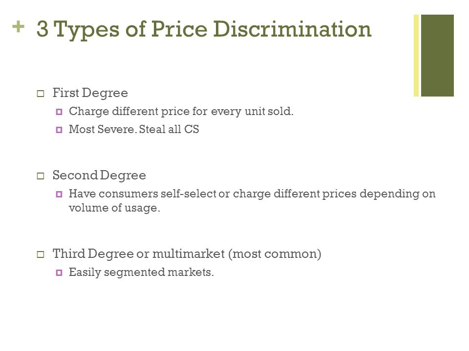 + 3 Types of Price Discrimination First Degree Charge different price for every unit sold.