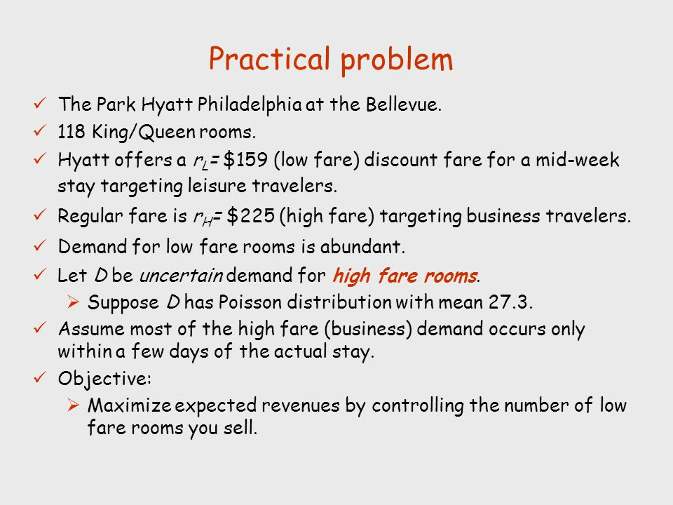 Practical problem The Park Hyatt Philadelphia at the Bellevue. 118 King/Queen rooms. Hyatt offers a r L = $159 (low fare) discount fare for a mid-week