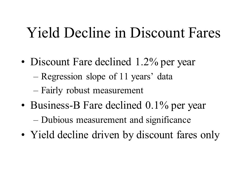 Yield Decline in Discount Fares Discount Fare declined 1.2% per year –Regression slope of 11 years data –Fairly robust measurement Business-B Fare declined 0.1% per year –Dubious measurement and significance Yield decline driven by discount fares only