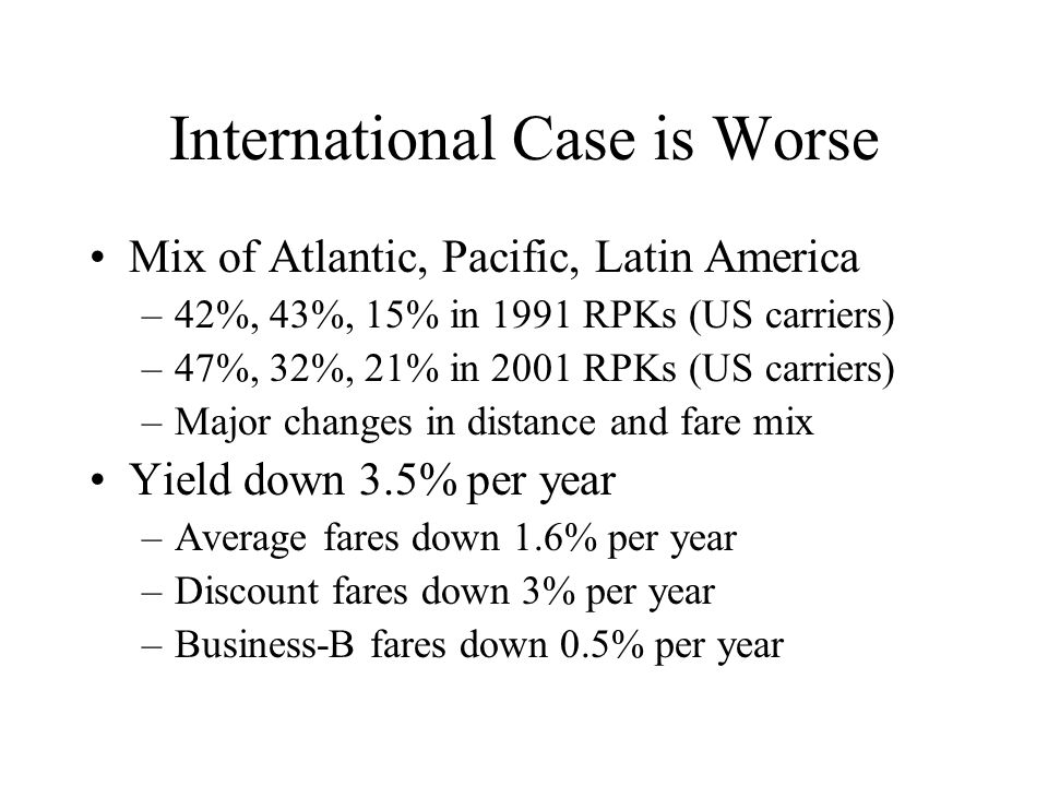International Case is Worse Mix of Atlantic, Pacific, Latin America –42%, 43%, 15% in 1991 RPKs (US carriers) –47%, 32%, 21% in 2001 RPKs (US carriers) –Major changes in distance and fare mix Yield down 3.5% per year –Average fares down 1.6% per year –Discount fares down 3% per year –Business-B fares down 0.5% per year