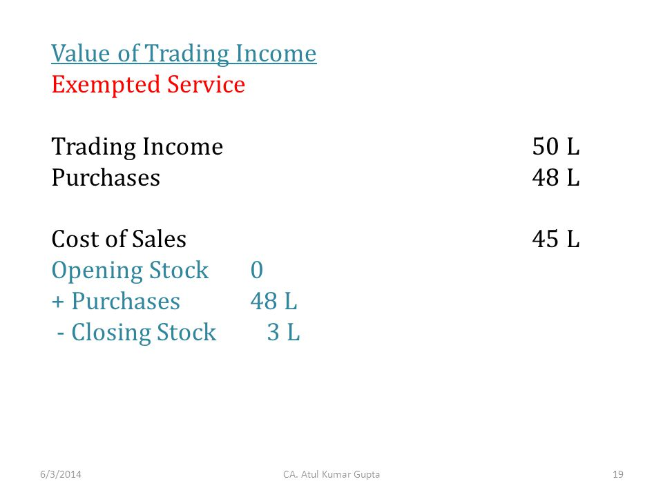 Value of Trading Income Exempted Service Trading Income 50 L Purchases 48 L Cost of Sales 45 L Opening Stock0 + Purchases48 L - Closing Stock 3 L CA.