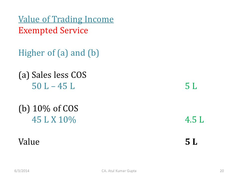 Value of Trading Income Exempted Service Higher of (a) and (b) (a)Sales less COS 50 L – 45 L5 L (b) 10% of COS 45 L X 10% 4.5 L Value5 L CA. Atul Kuma