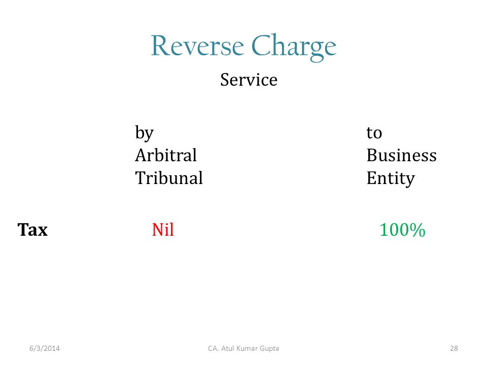 Reverse Charge by Arbitral Tribunal Service to Business Entity Tax Nil 100% CA. Atul Kumar Gupta6/3/201428
