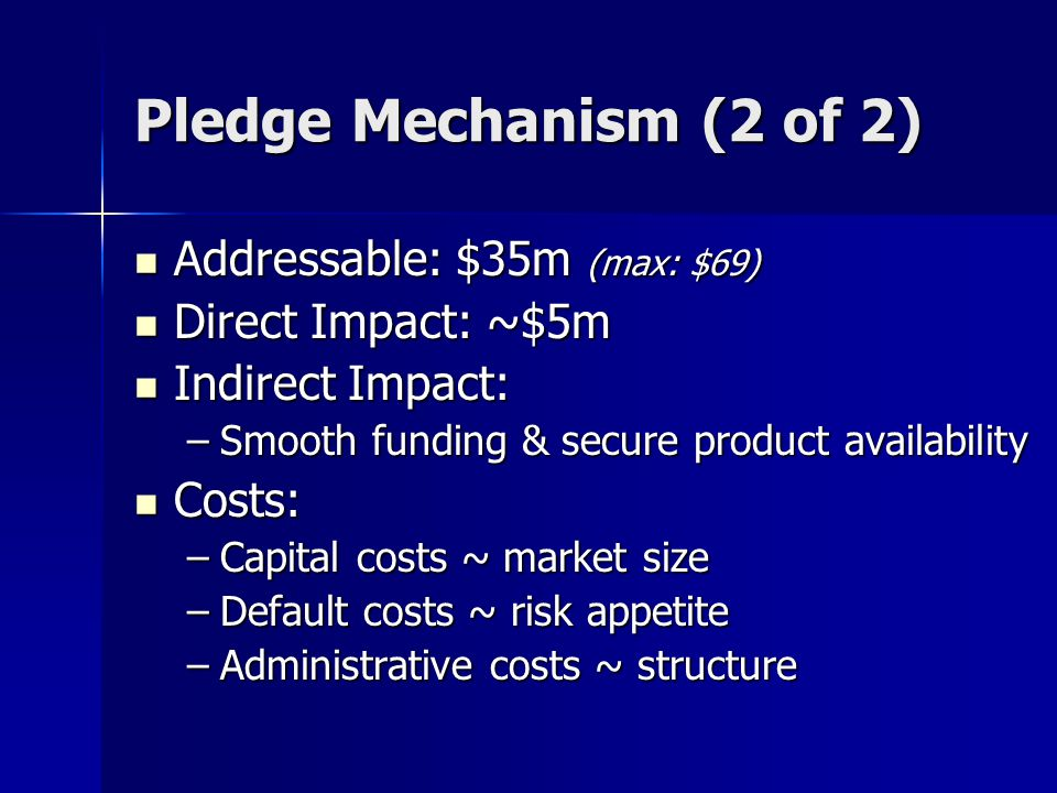 Pledge Mechanism (2 of 2) Addressable: $35m (max: $69) Addressable: $35m (max: $69) Direct Impact: ~$5m Direct Impact: ~$5m Indirect Impact: Indirect Impact: –Smooth funding & secure product availability Costs: Costs: –Capital costs ~ market size –Default costs ~ risk appetite –Administrative costs ~ structure