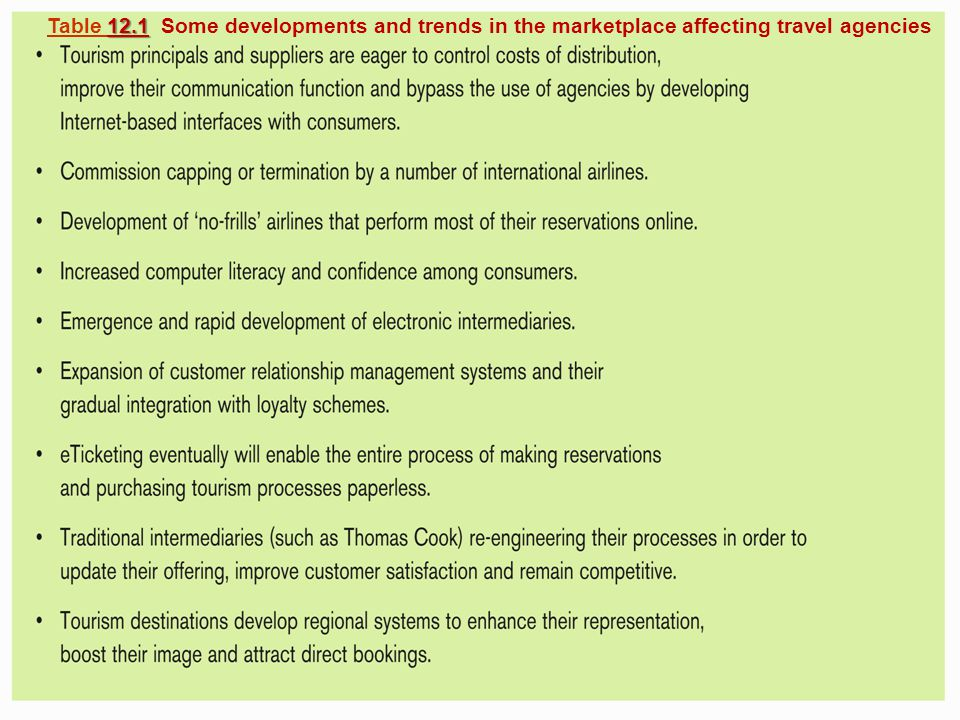Slide 12.20 Cooper et al: Tourism: Principles and Practice, 3e Pearson Education Limited 2005, © retained by authors 12.1 Table 12.1 Some developments and trends in the marketplace affecting travel agencies