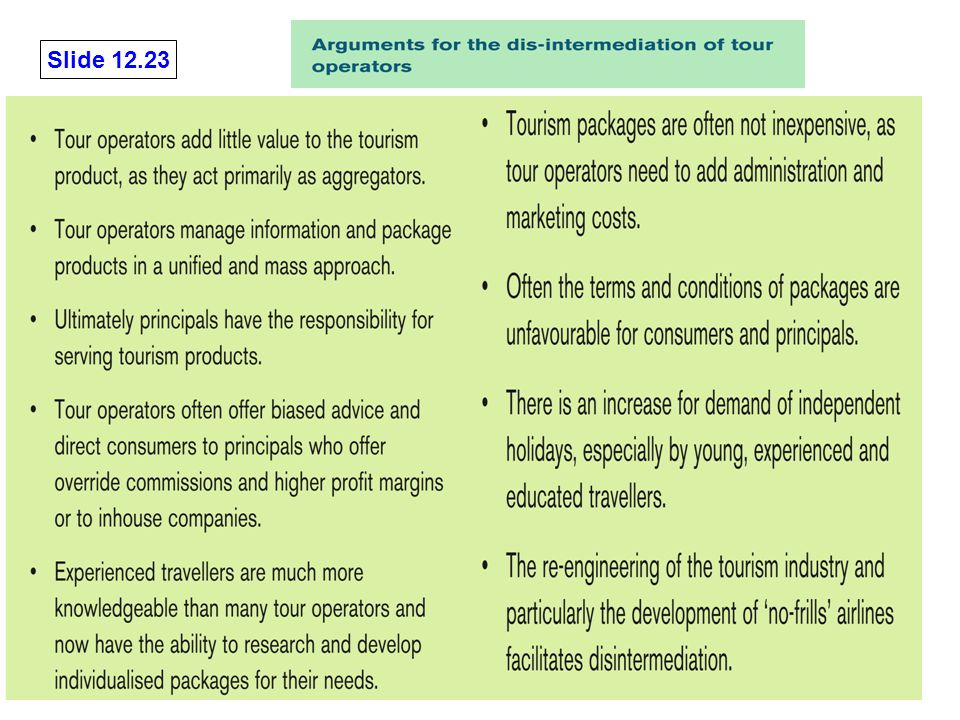 Slide 12.23 Cooper et al: Tourism: Principles and Practice, 3e Pearson Education Limited 2005, © retained by authors