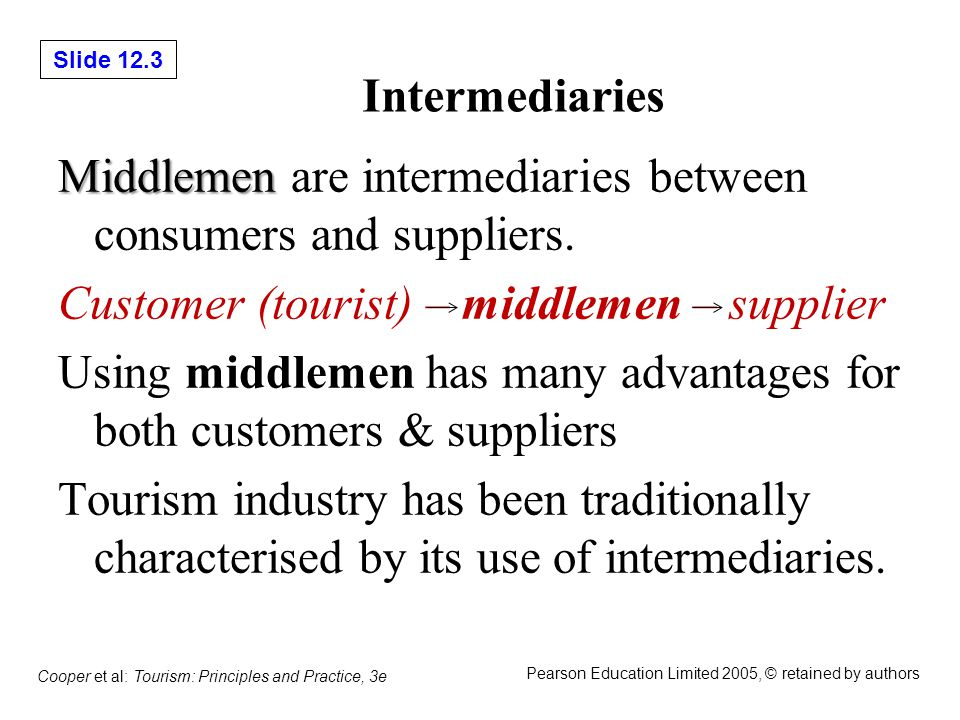 Slide 12.4 Cooper et al: Tourism: Principles and Practice, 3e Pearson Education Limited 2005, © retained by authors Figure 12.1 Structure of distribution channels