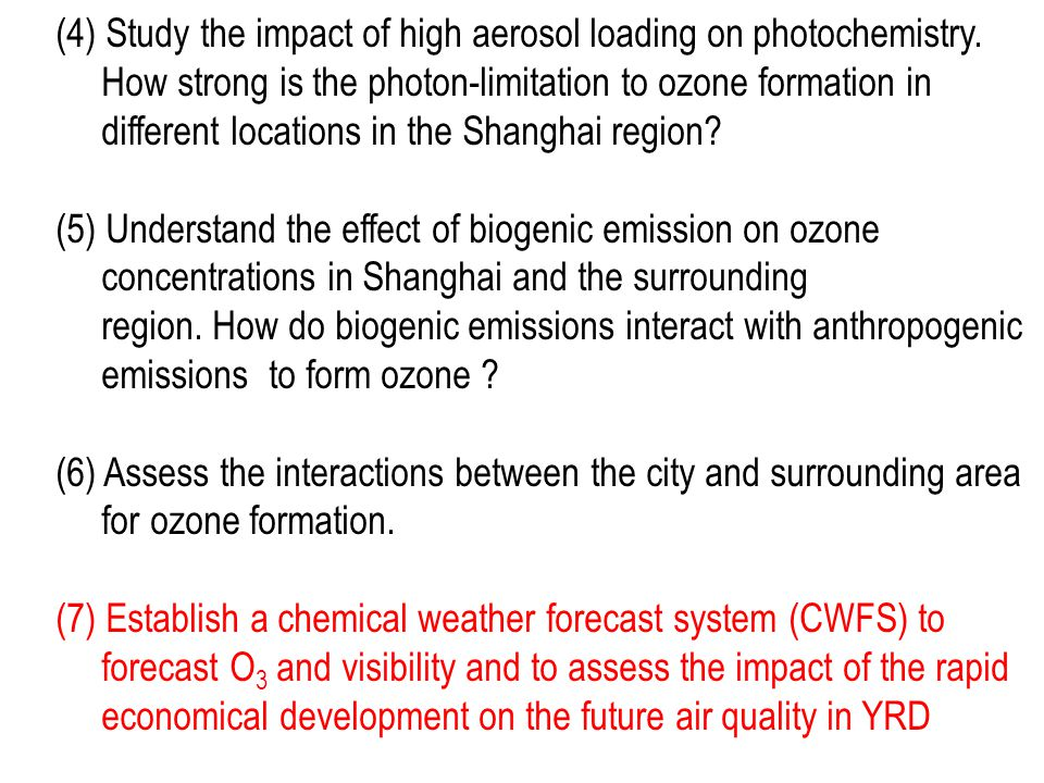 (4) Study the impact of high aerosol loading on photochemistry.