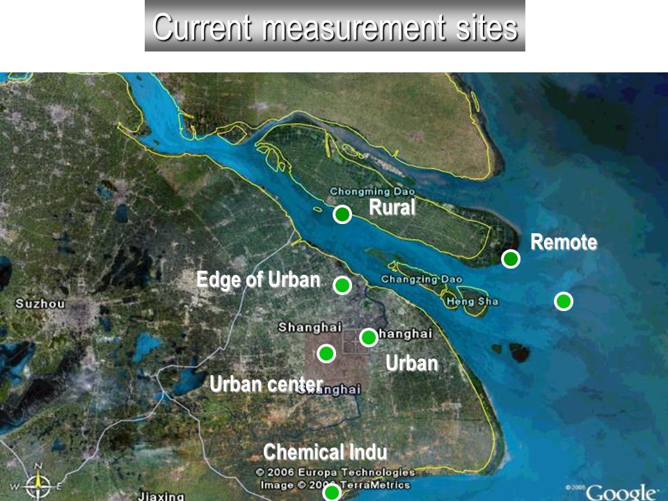 Current measurement sites Remote Rural Edge of Urban Urban Chemical Indu Urban center