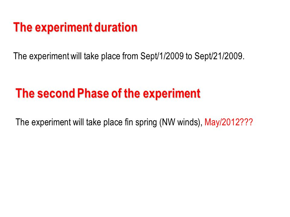 The experiment duration The experiment will take place from Sept/1/2009 to Sept/21/2009. The second Phase of the experiment The experiment will take p