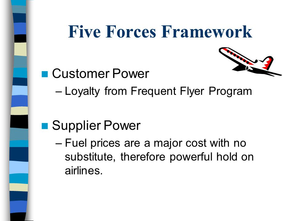 Five Forces Framework Customer Power –Loyalty from Frequent Flyer Program Supplier Power –Fuel prices are a major cost with no substitute, therefore powerful hold on airlines.