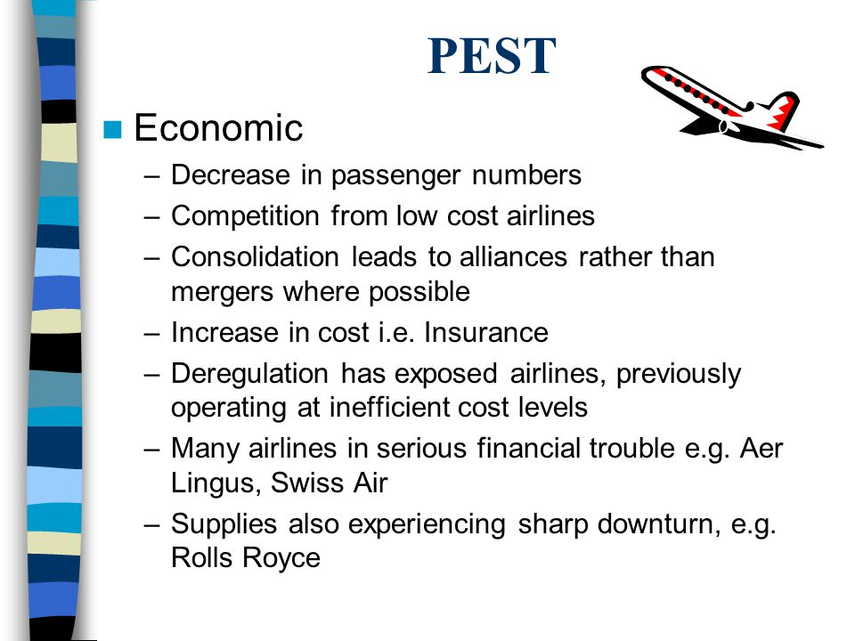 PEST Economic –Decrease in passenger numbers –Competition from low cost airlines –Consolidation leads to alliances rather than mergers where possible –Increase in cost i.e.