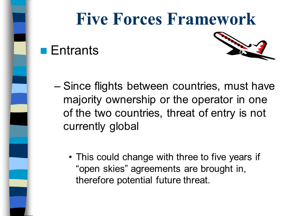 Five Forces Framework Entrants –Since flights between countries, must have majority ownership or the operator in one of the two countries, threat of e