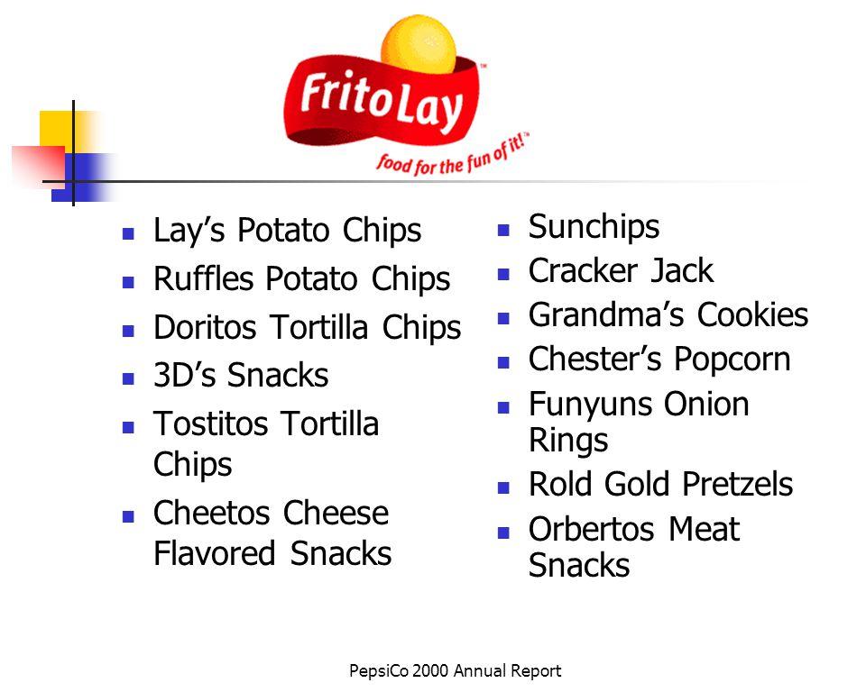 PepsiCo 2000 Annual Report Lays Potato Chips Ruffles Potato Chips Doritos Tortilla Chips 3Ds Snacks Tostitos Tortilla Chips Cheetos Cheese Flavored Sn