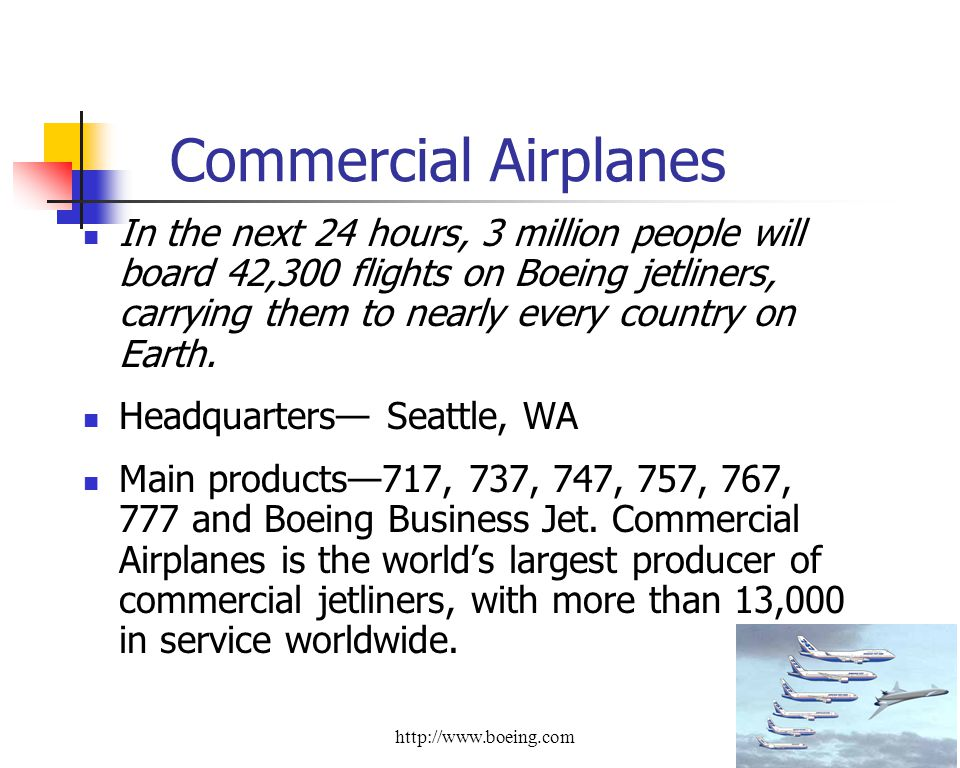 Commercial Airplanes In the next 24 hours, 3 million people will board 42,300 flights on Boeing jetliners, carrying them to nearly every country on Earth.