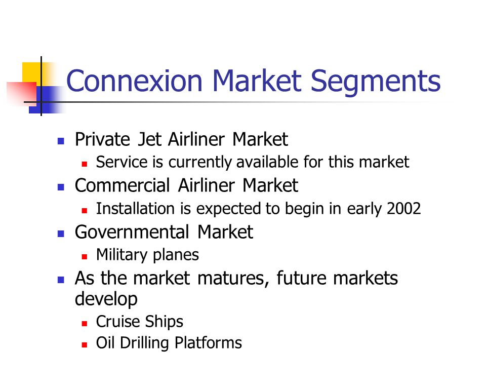 Connexion Market Segments Private Jet Airliner Market Service is currently available for this market Commercial Airliner Market Installation is expected to begin in early 2002 Governmental Market Military planes As the market matures, future markets develop Cruise Ships Oil Drilling Platforms