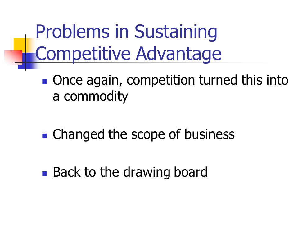 Problems in Sustaining Competitive Advantage Once again, competition turned this into a commodity Changed the scope of business Back to the drawing bo