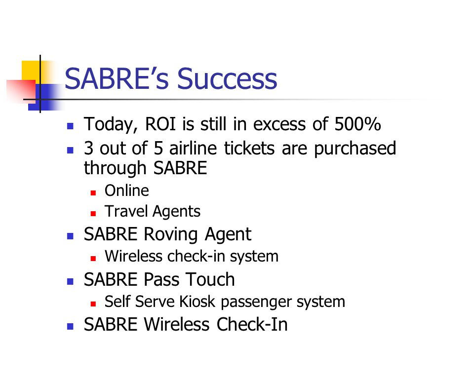 SABREs Success Today, ROI is still in excess of 500% 3 out of 5 airline tickets are purchased through SABRE Online Travel Agents SABRE Roving Agent Wireless check-in system SABRE Pass Touch Self Serve Kiosk passenger system SABRE Wireless Check-In