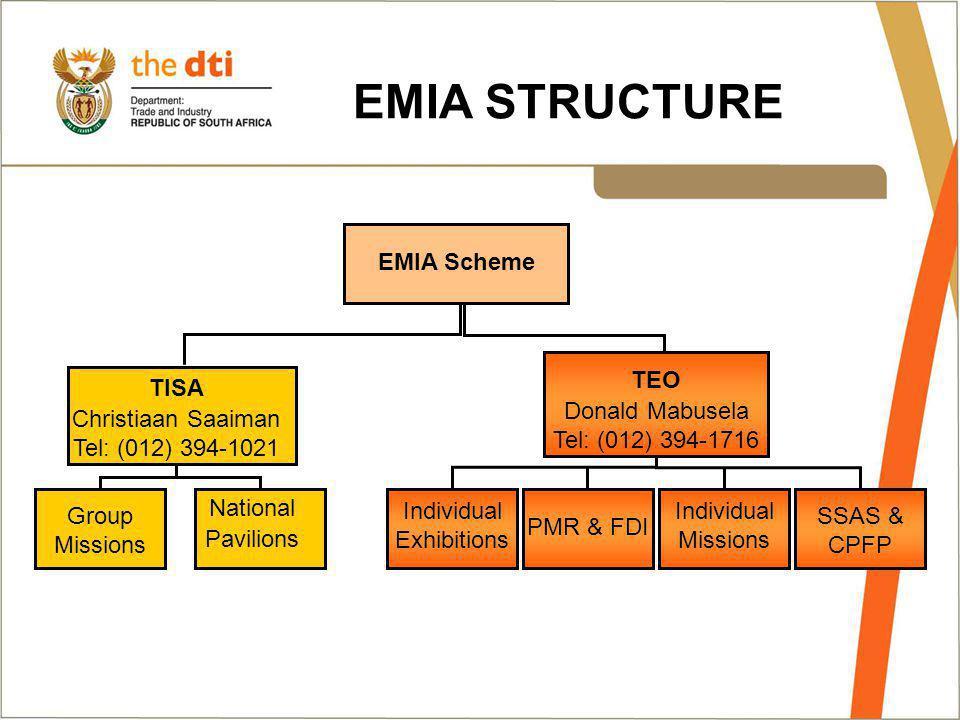 EMIA Scheme Group Missions National Pavilions TEO Donald Mabusela Tel: (012) 394-1716 TISA Christiaan Saaiman Tel: (012) 394-1021 SSAS & CPFP Individu