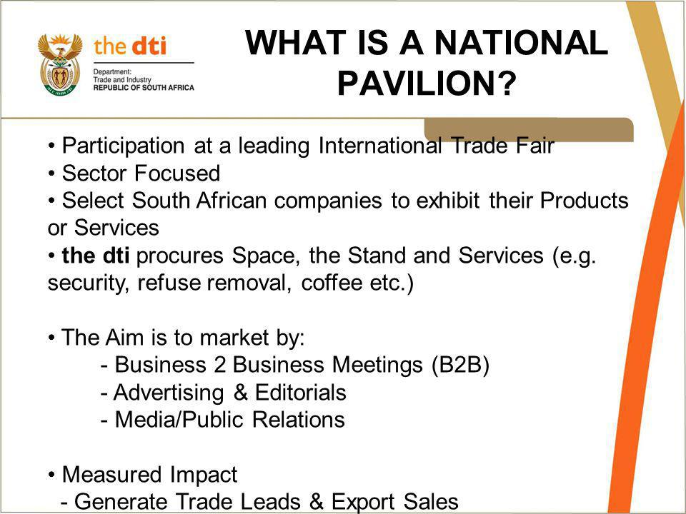 WHAT IS A NATIONAL PAVILION.