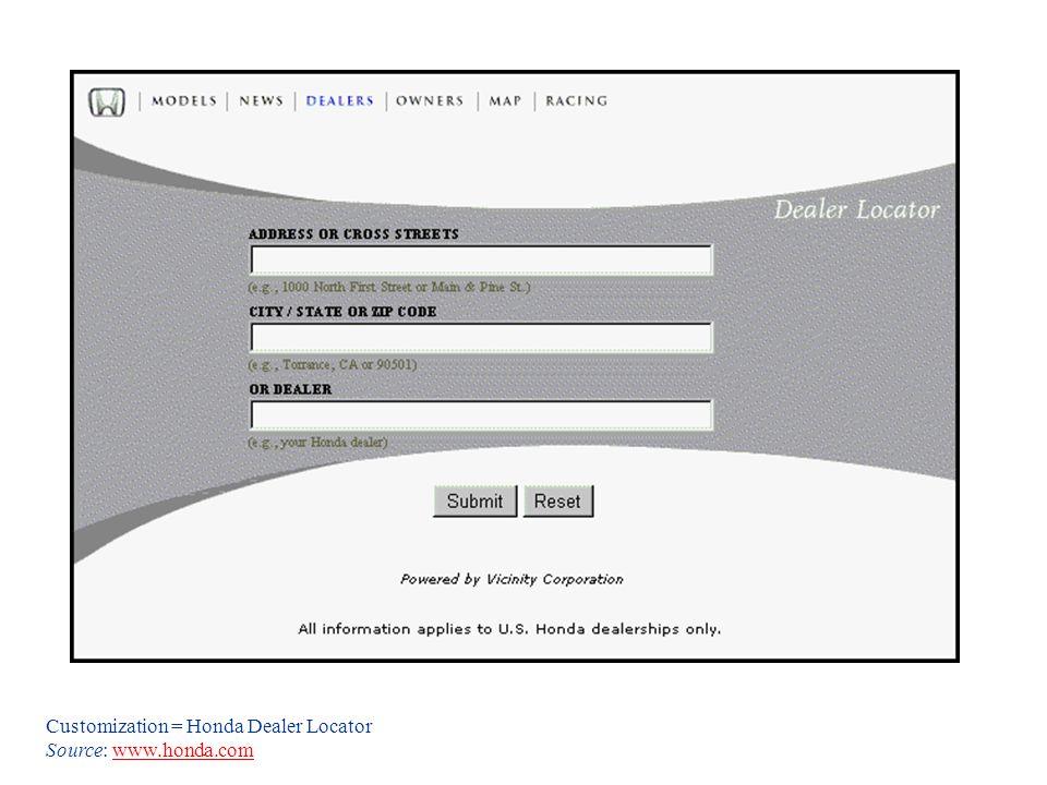 Customization = Honda Dealer Locator Source: www.honda.comwww.honda.com