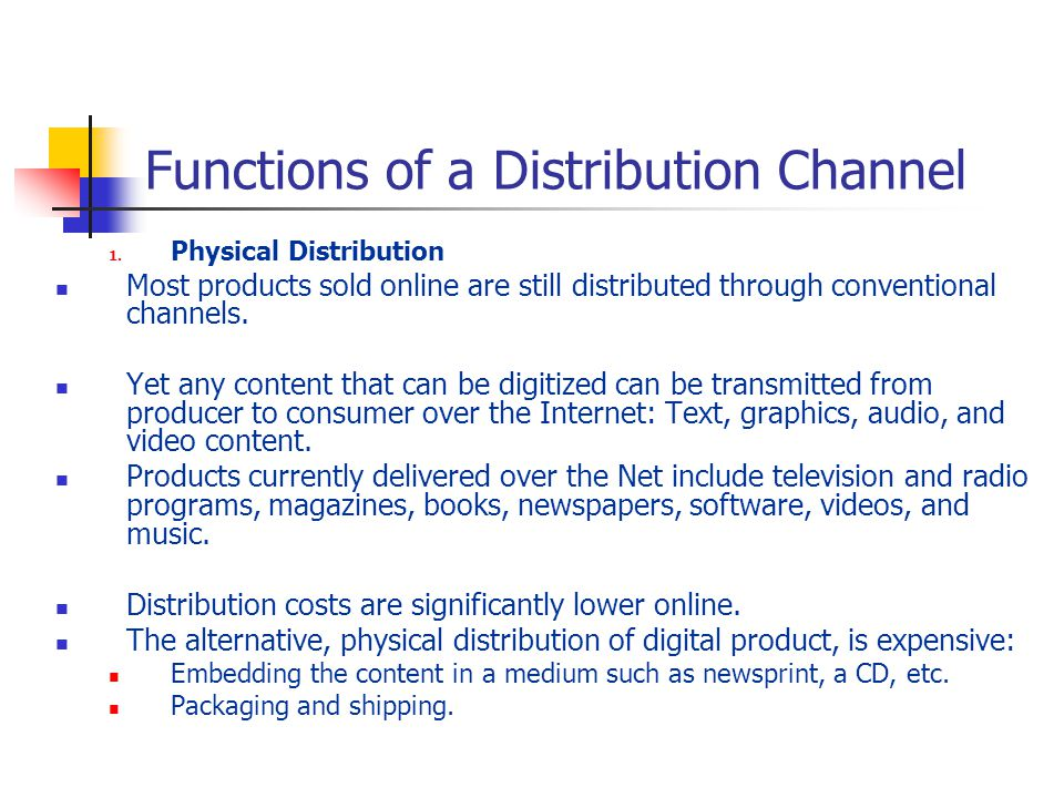 Functions of a Distribution Channel 1.