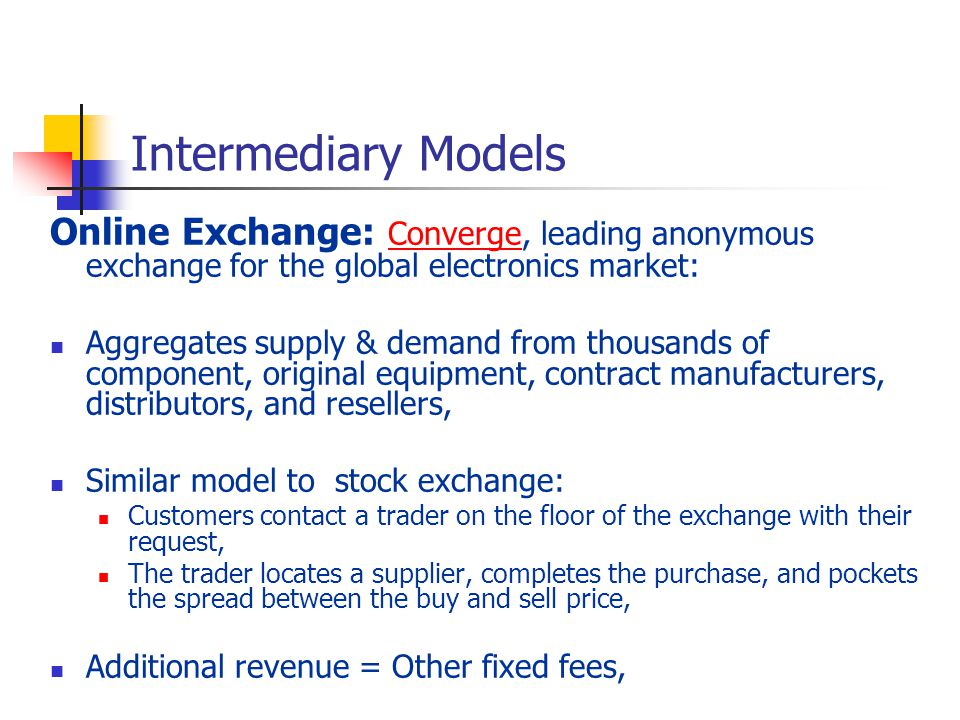 Intermediary Models Online Exchange: Converge, leading anonymous exchange for the global electronics market: Converge Aggregates supply & demand from thousands of component, original equipment, contract manufacturers, distributors, and resellers, Similar model to stock exchange: Customers contact a trader on the floor of the exchange with their request, The trader locates a supplier, completes the purchase, and pockets the spread between the buy and sell price, Additional revenue = Other fixed fees,