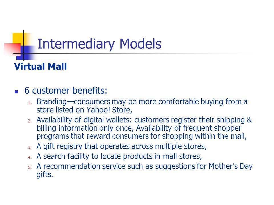 Intermediary Models Virtual Mall 6 customer benefits: 1.