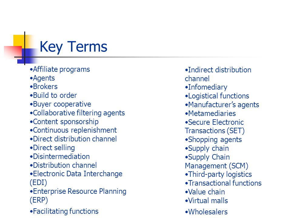 Key Terms Affiliate programs Agents Brokers Build to order Buyer cooperative Collaborative filtering agents Content sponsorship Continuous replenishment Direct distribution channel Direct selling Disintermediation Distribution channel Electronic Data Interchange (EDI) Enterprise Resource Planning (ERP) Facilitating functions Indirect distribution channel Infomediary Logistical functions Manufacturers agents Metamediaries Secure Electronic Transactions (SET) Shopping agents Supply chain Supply Chain Management (SCM) Third-party logistics Transactional functions Value chain Virtual malls Wholesalers