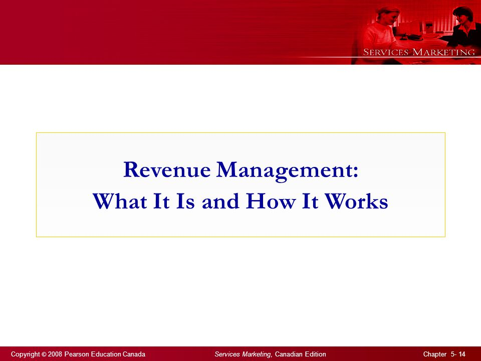 Copyright © 2008 Pearson Education Canada Services Marketing, Canadian Edition Chapter 5- 14 Revenue Management: What It Is and How It Works