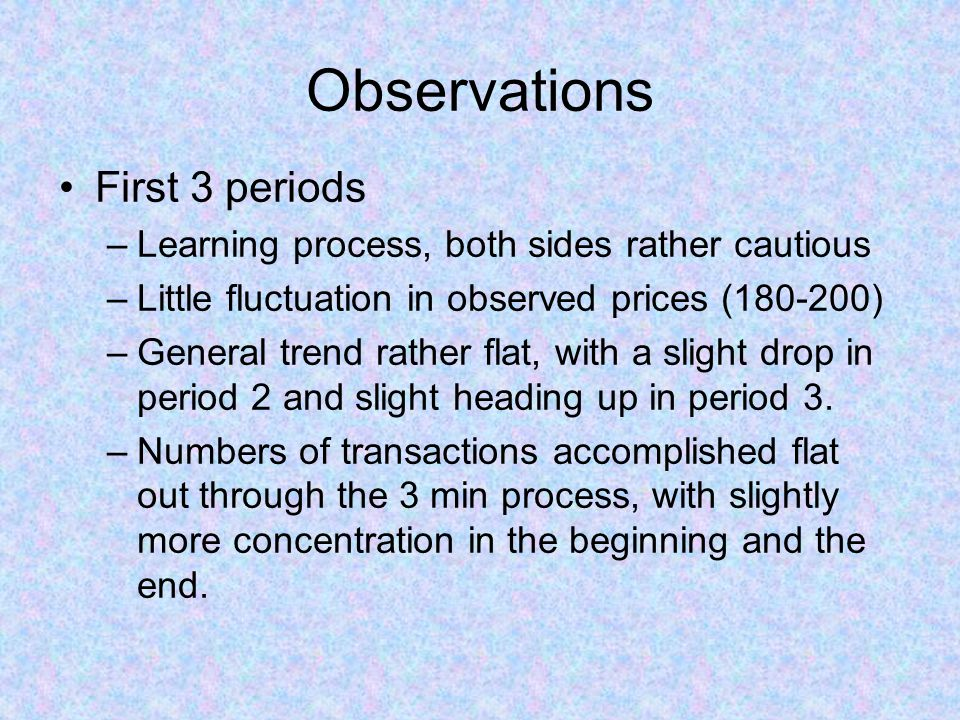 Observations First 3 periods –Learning process, both sides rather cautious –Little fluctuation in observed prices (180-200) –General trend rather flat, with a slight drop in period 2 and slight heading up in period 3.