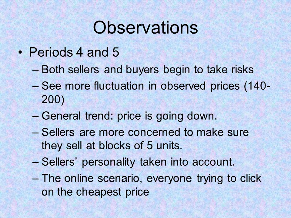 Observations Periods 4 and 5 –Both sellers and buyers begin to take risks –See more fluctuation in observed prices (140- 200) –General trend: price is going down.