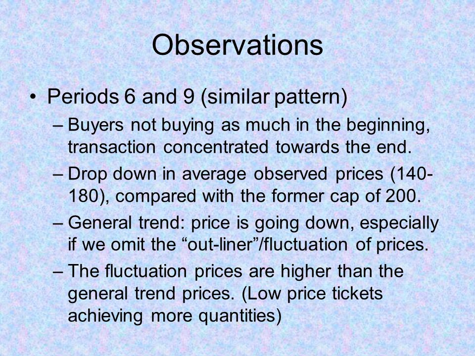 Observations Periods 6 and 9 (similar pattern) –Buyers not buying as much in the beginning, transaction concentrated towards the end. –Drop down in av