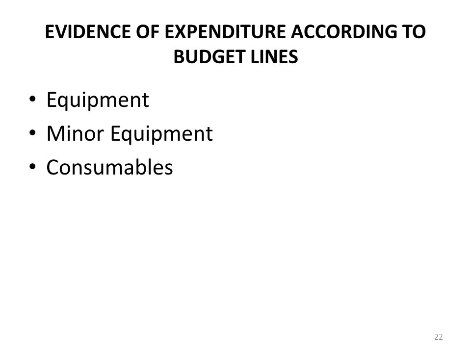 EVIDENCE OF EXPENDITURE ACCORDING TO BUDGET LINES Equipment Minor Equipment Consumables 22