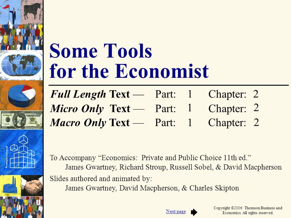To Accompany Economics: Private and Public Choice 11th ed. James Gwartney, Richard Stroup, Russell Sobel, & David Macpherson Slides authored and anima