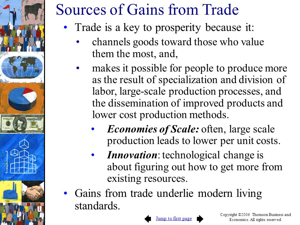 Jump to first page Copyright ©2006 Thomson Business and Economics. All rights reserved. Trade is a key to prosperity because it: channels goods toward