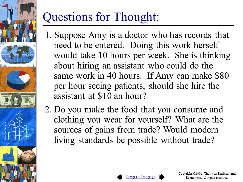 Jump to first page Copyright ©2006 Thomson Business and Economics. All rights reserved. Questions for Thought: 1. Suppose Amy is a doctor who has reco