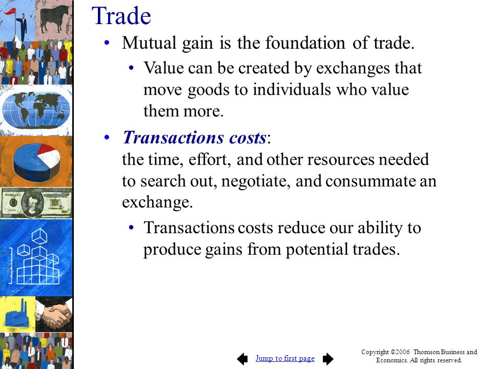 Jump to first page Copyright ©2006 Thomson Business and Economics. All rights reserved. Mutual gain is the foundation of trade. Value can be created b