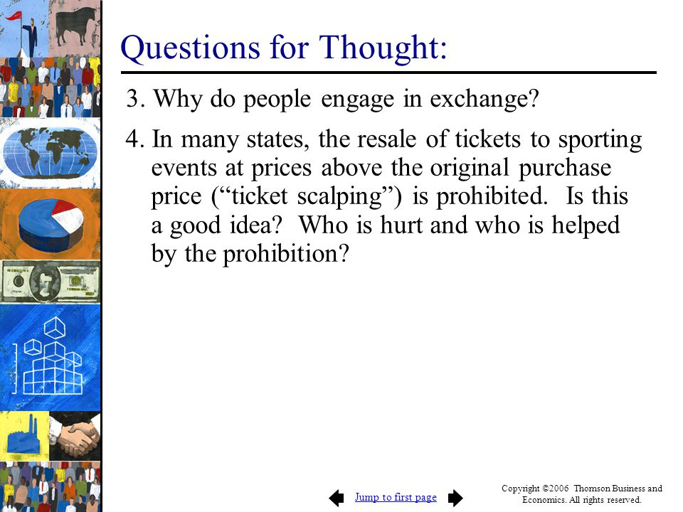 Jump to first page Copyright ©2006 Thomson Business and Economics. All rights reserved. Questions for Thought: 3. Why do people engage in exchange? 4.
