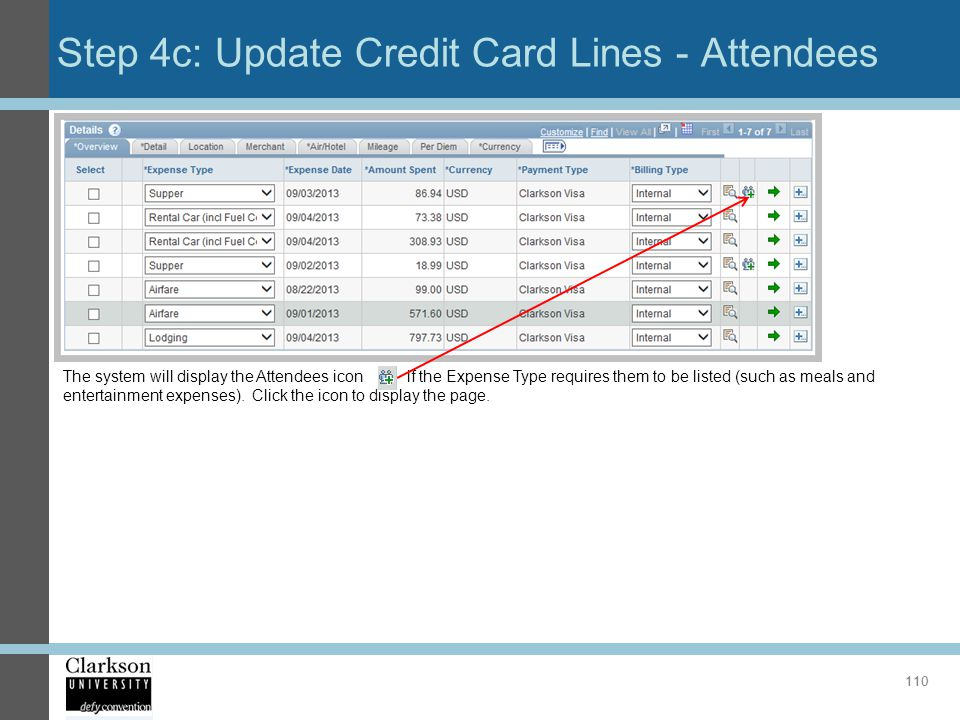 Step 4c: Update Credit Card Lines - Attendees 110 The system will display the Attendees icon if the Expense Type requires them to be listed (such as m