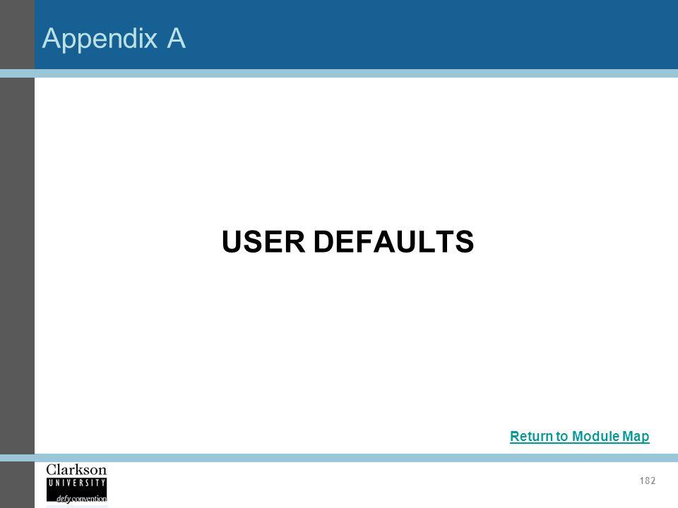 Appendix A 182 USER DEFAULTS Return to Module Map