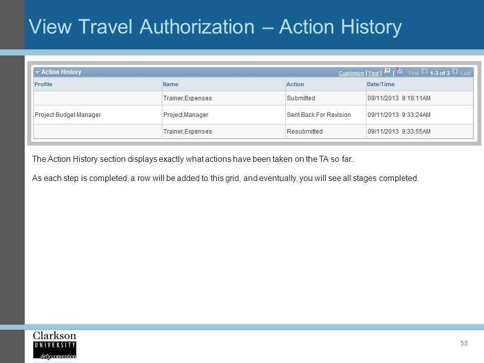 View Travel Authorization – Action History 58 The Action History section displays exactly what actions have been taken on the TA so far.. As each step