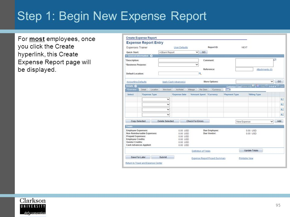 Step 1: Begin New Expense Report 95 For most employees, once you click the Create hyperlink, this Create Expense Report page will be displayed.