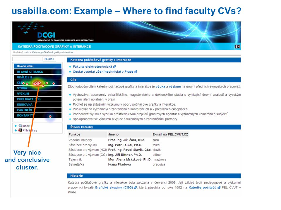 usabilla.com: Example – Where to find faculty CVs Very nice and conclusive cluster.